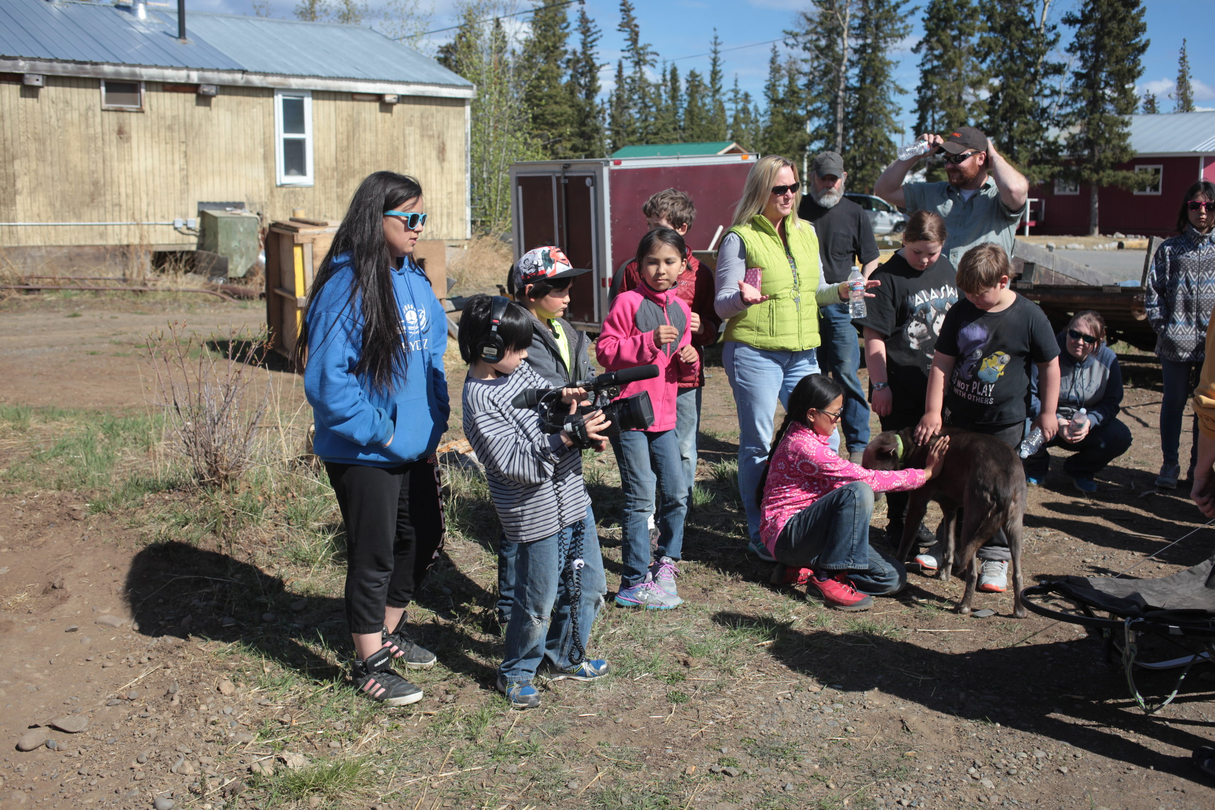 Eagle & Tanacross students learn how to use a video camera.