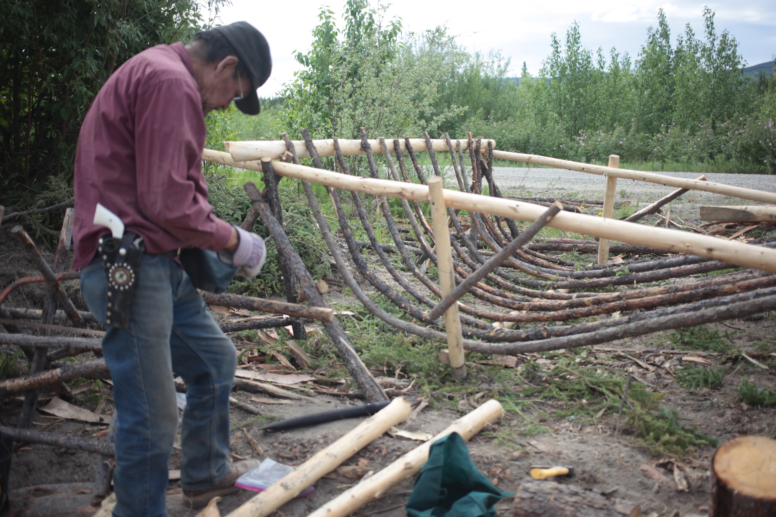 Eagle Fish Wheel Project - Local Culture Expert making the basket portion.