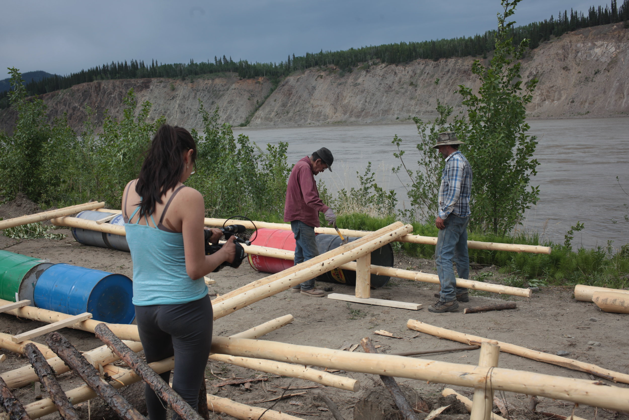 Eagle Fish Wheel Project - Youth filming work on the floater base by Local Culture Experts.