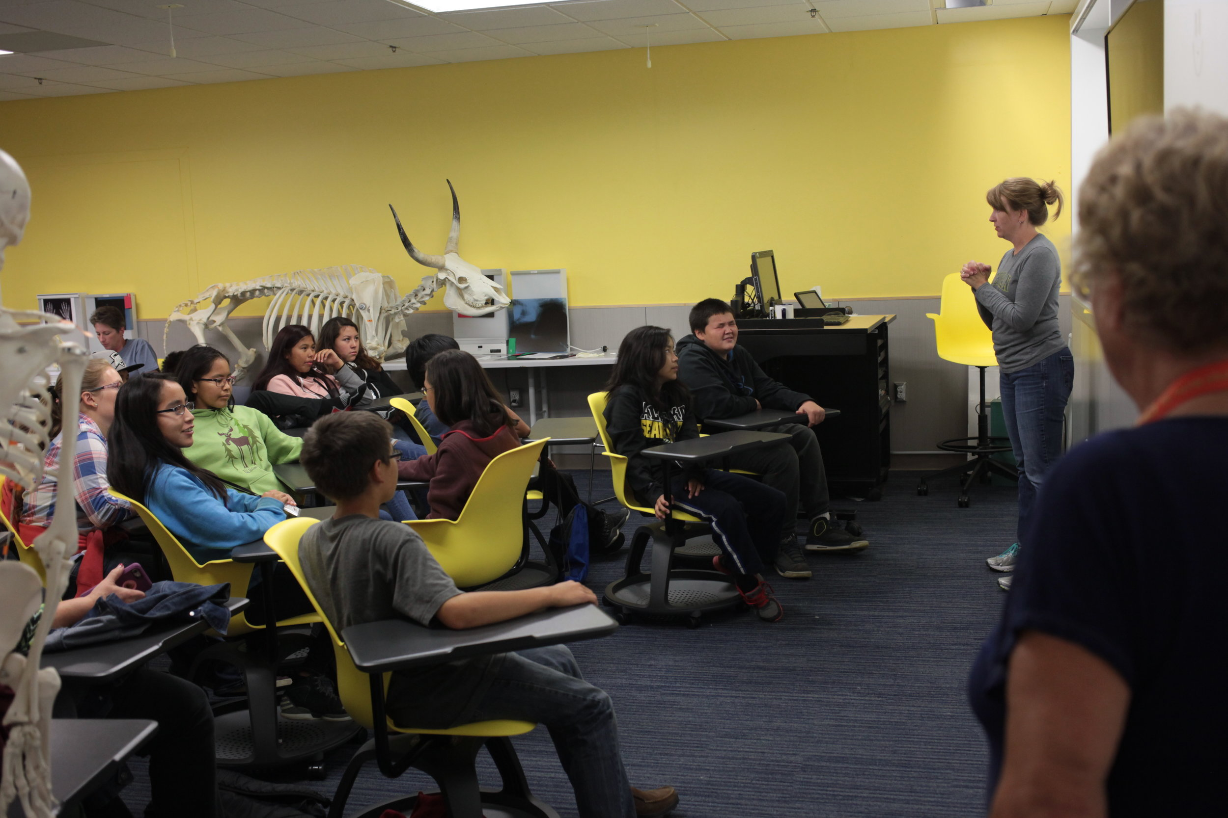 13. A-CHILL middle school students & dog musher teachers lisen to anatomy lecture photo by Ira Hardy.JPG