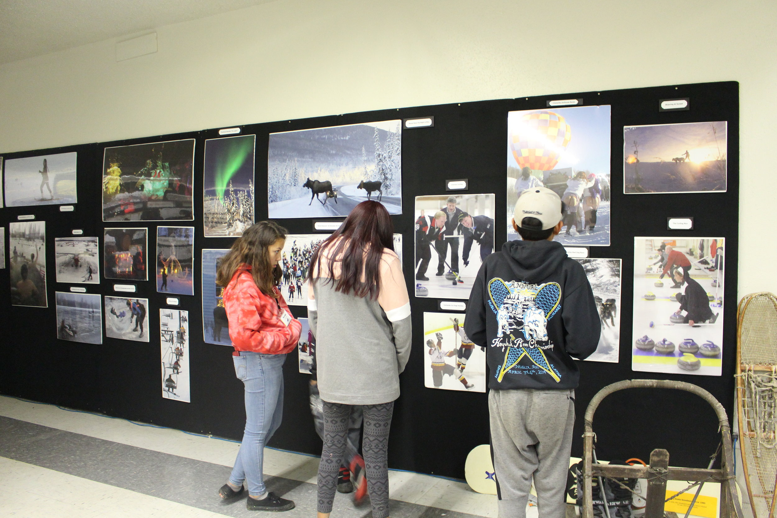Students look at the displays at the Fairbanks Community Museum.