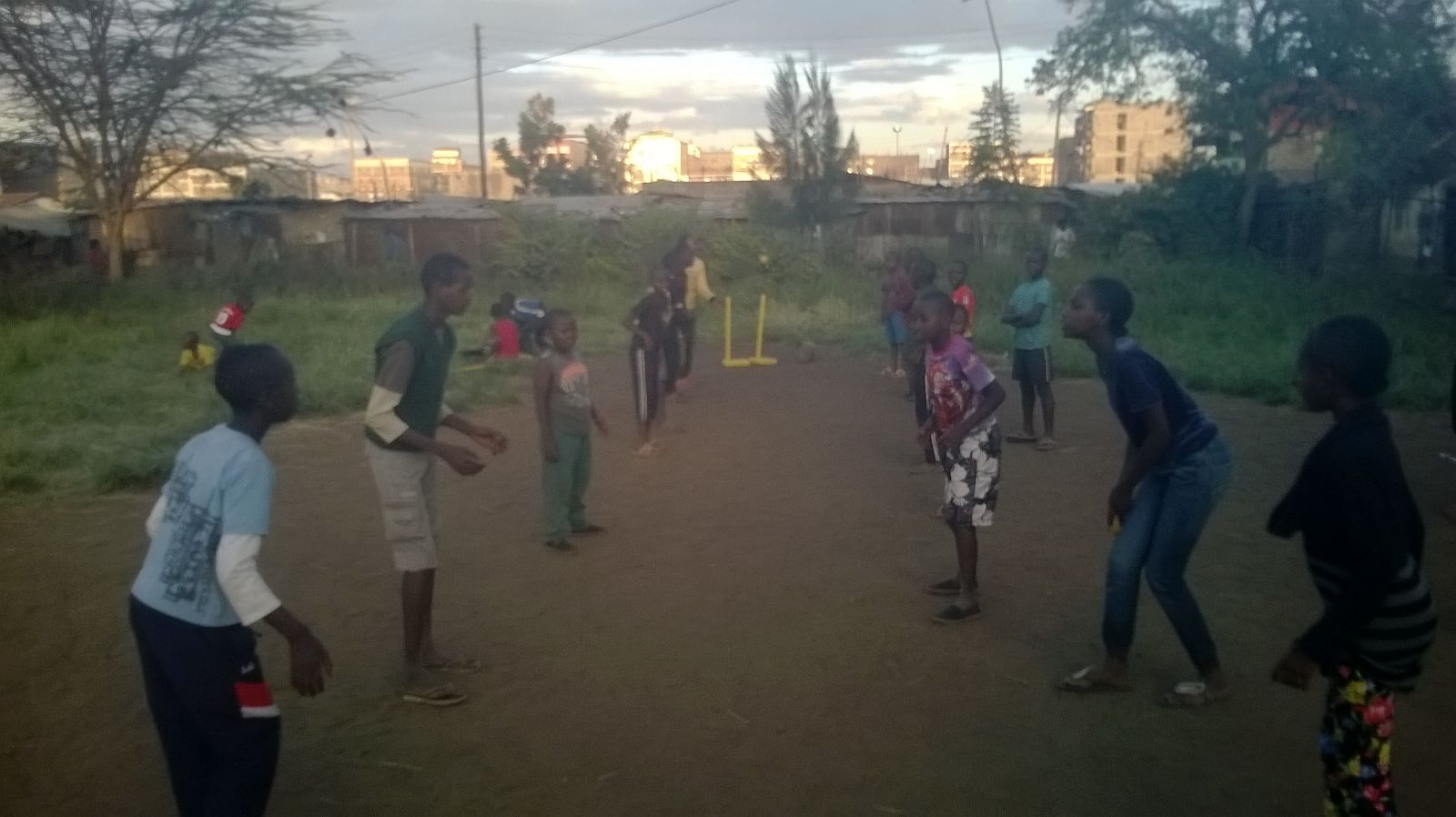 Some of the Kids enjoying a game of cricket after school.