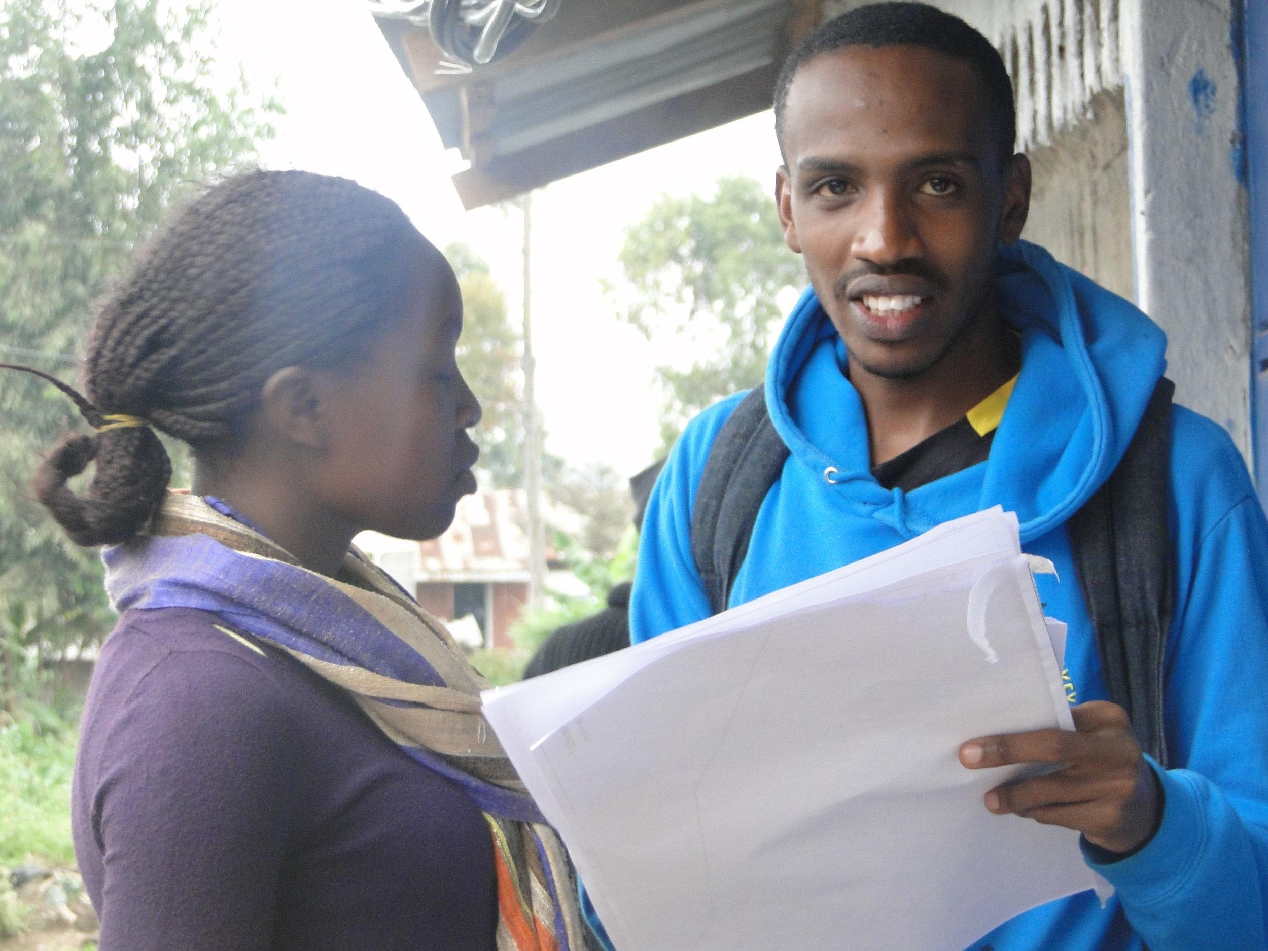 Kelvin supporting a recent settlement profiling in Mukuru Kwa Reuben.