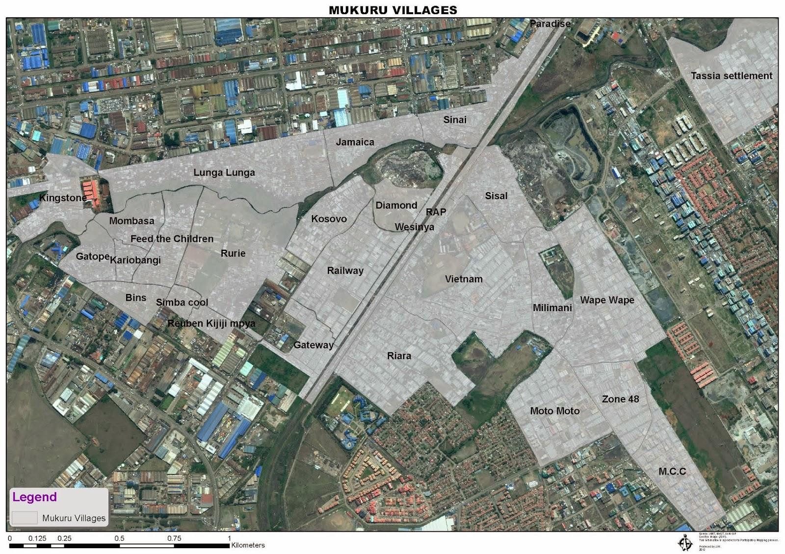 An overlayed cadastral map of villages in Mukuru Slums