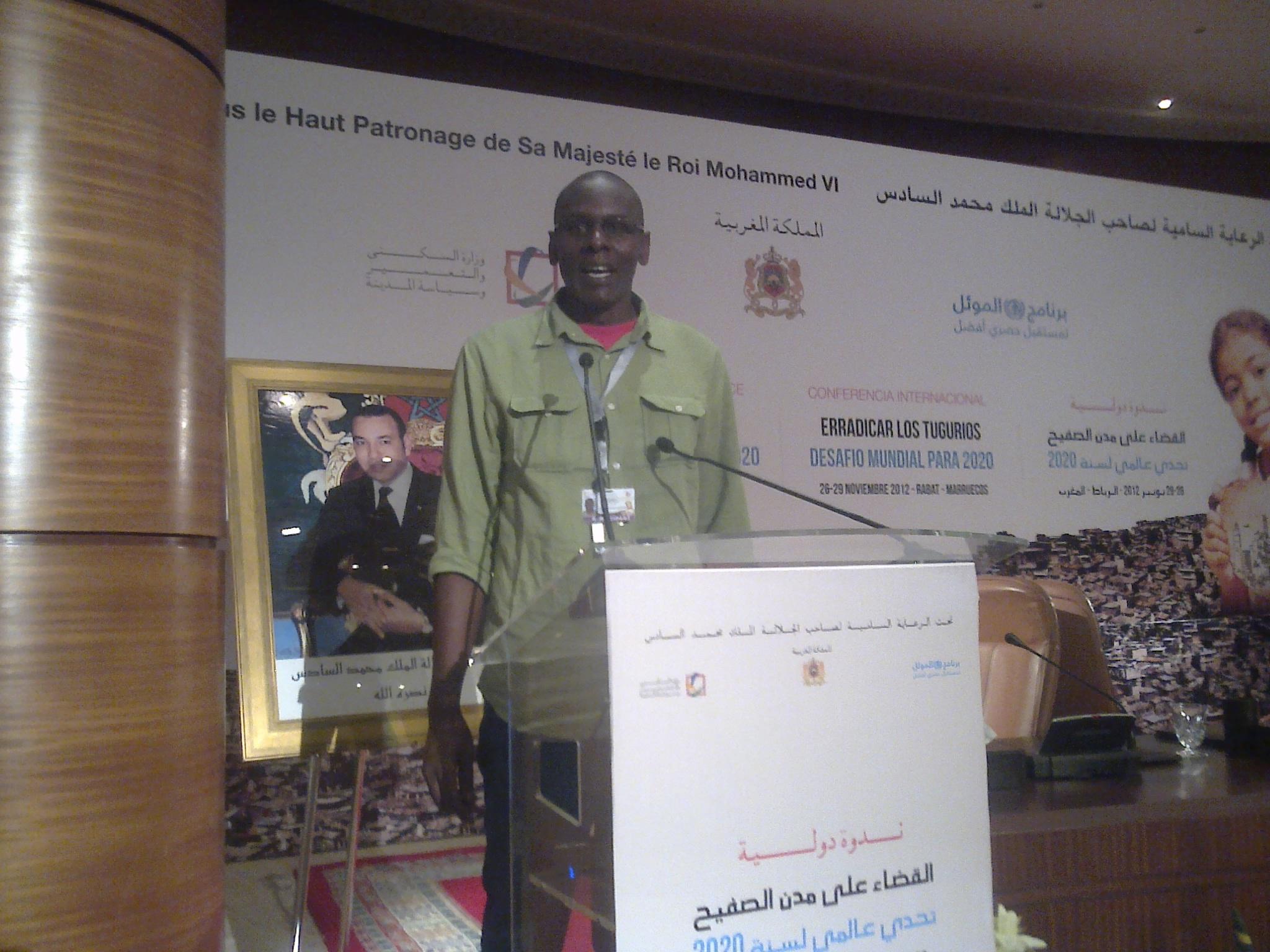 The Kenyan SDI Affiliate Member Joseph Muturi makes a presentation on Slums(Kenyan Context) at the Rabat Conference