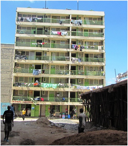 Front View of a Typical Tenement Building in Pipeline Estate, Embakasi-Nairobi © B.Mwau 2012