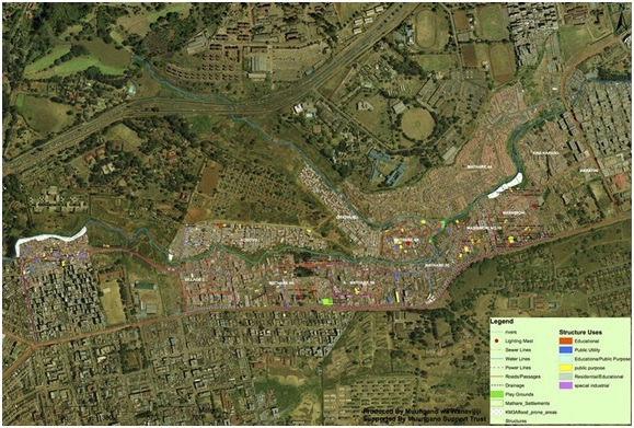 The Mathare Valley, shown here in an aerial map, is one of the largest and oldest slums in Nairobi, Kenya. Residents are using hand-held GPS devices to map the area, which comprises 13 villages and is home to nearly 200,000 people. Courtesy of Muungano Support Trust and Jason Corburn, UC Berkeley