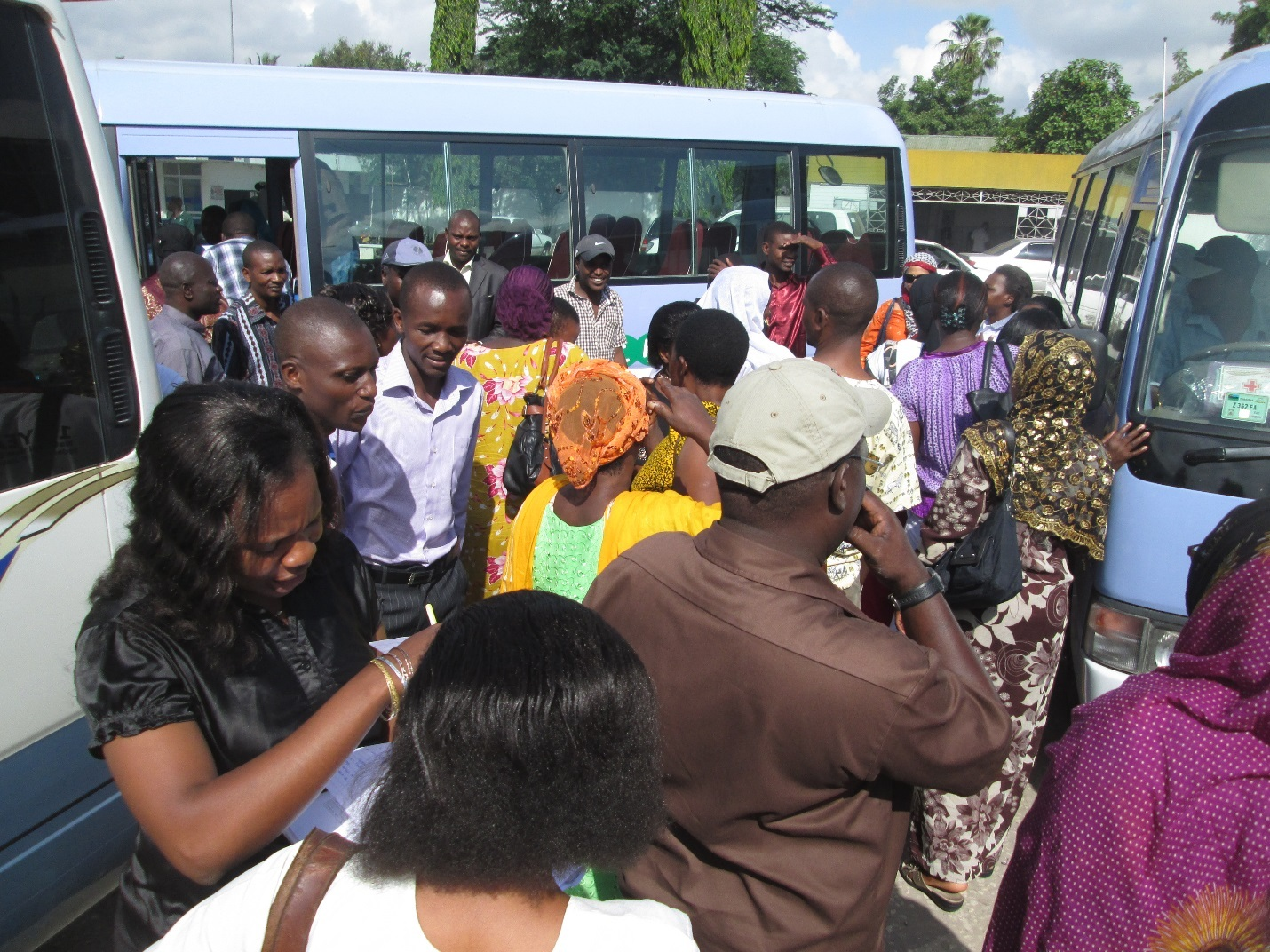 Figure 7: Enthusiastic profiling team headed to Mtoni and Sandali wards having just alighted at Mtoni municipality offices