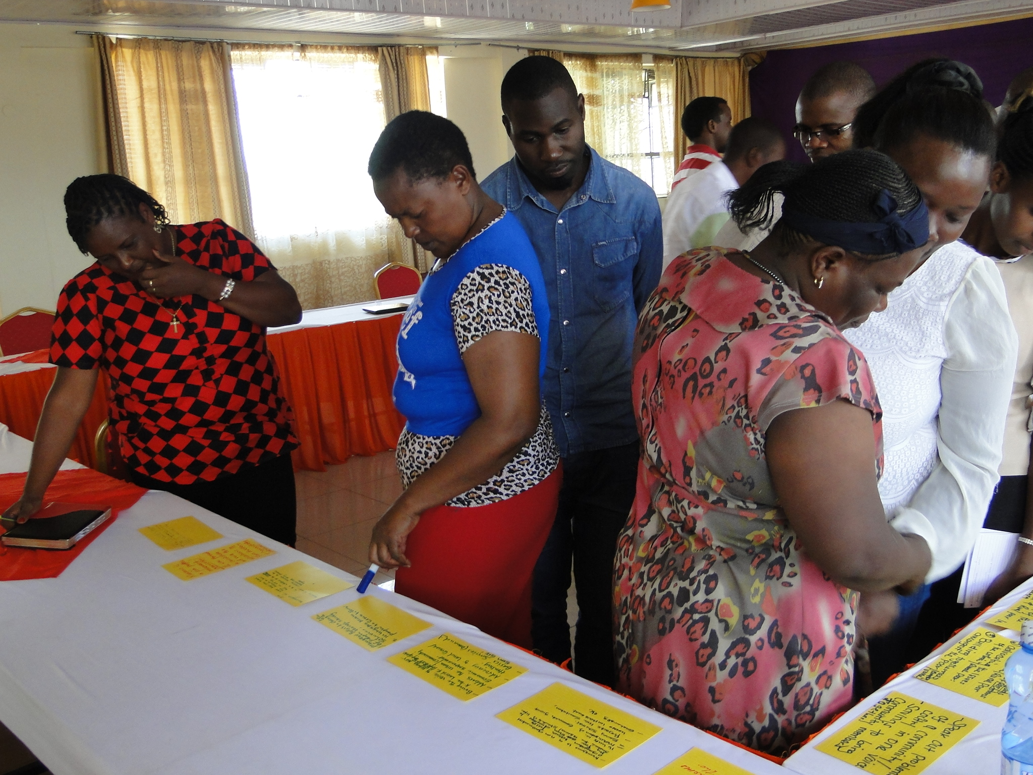 Participants take a gallery walk of some of the priority objectives that participants have proposed for the federation to consider in its strategic plan.
