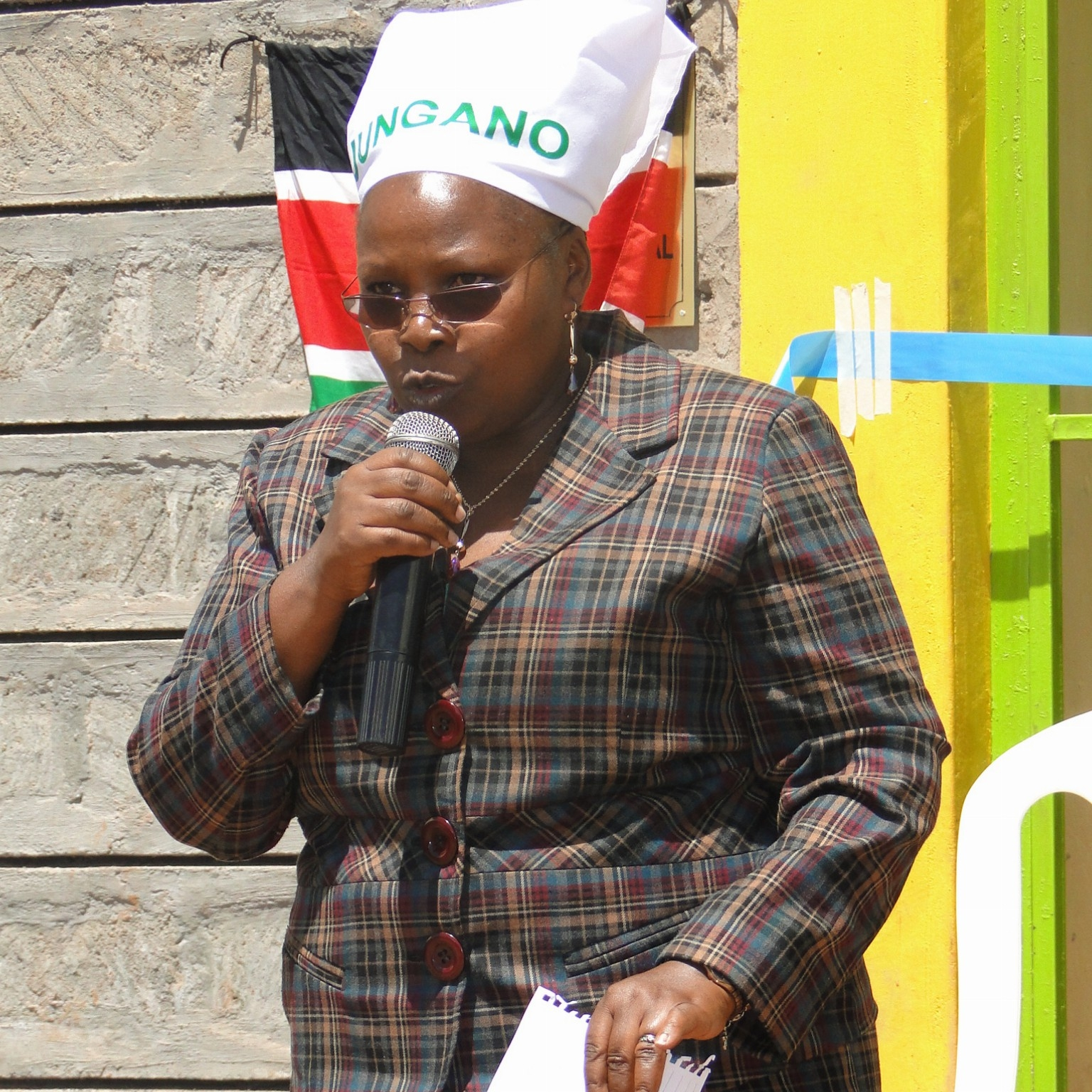 Kiambu County Government Minister for Environment and Social Services Esther W Njuguna, gives her speech during the Launch