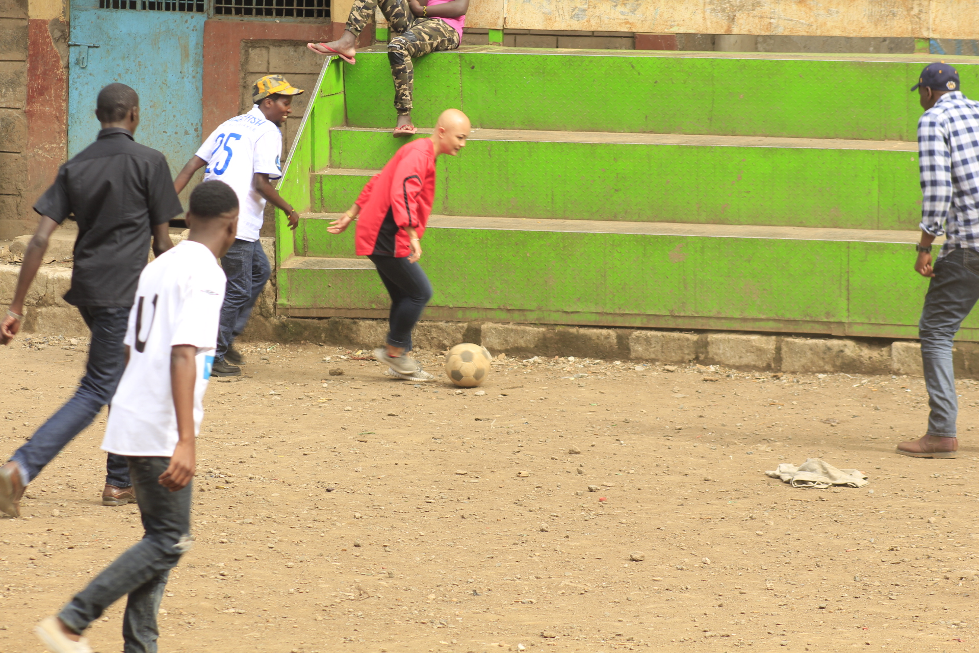 A ten-minute match at Mathare soccer stadium(previously grabbed land) in Mathare informal settlement, Nairobi.