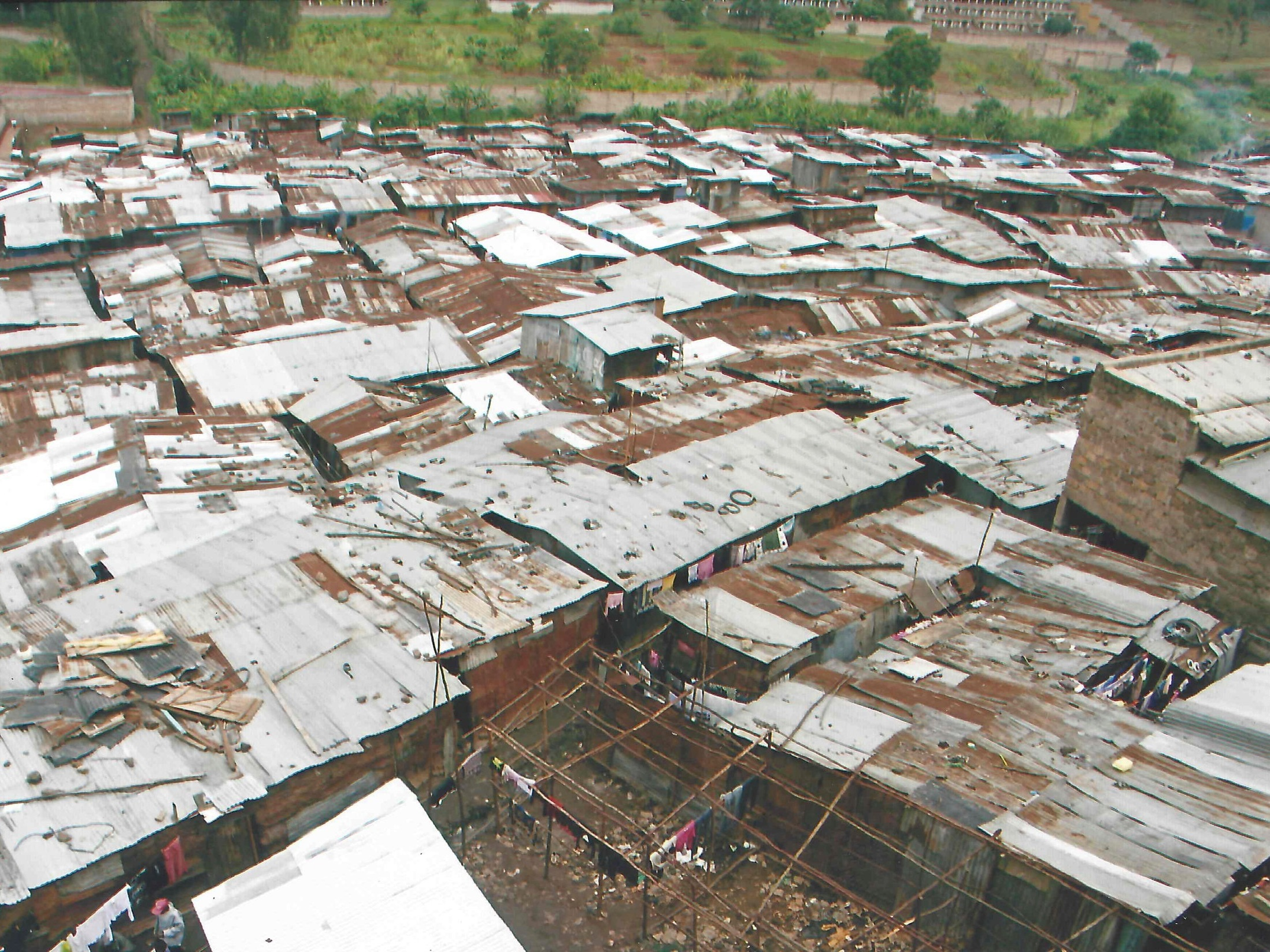 Kiamutisyia village in Mathare, Nairobi (opposite the mental hospital). This was one of the first slums in Nairobi, occupied from 1995 by landless and displaced Kenyans who had been evicted by the colonial government from squatting in City Park. Source (photo and caption): Emily Wangari, Muungano Mathare.