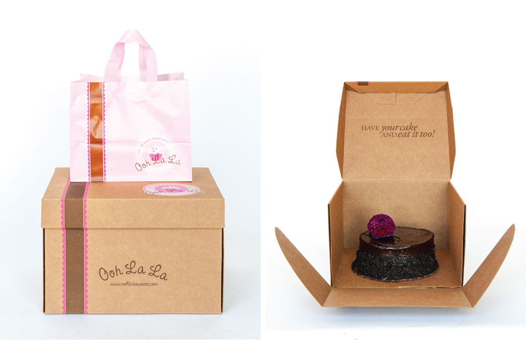 Ooh La La Dessert Boutique Carry-Out Packaging Bag and Box and Box open with Cake