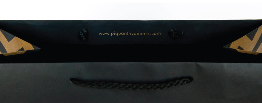 """Piquant Carry-Out Bag Interior Detail, """"www.piquanthydepark.com"""""""