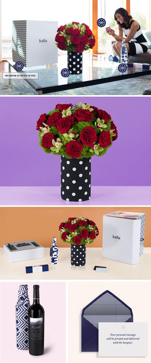 Kalla Flowers in Living room, Kalla Isolated, Kalla Flowers with Packaging Suite, Kalla Wine Bottle Packaging, Kalla Envelope