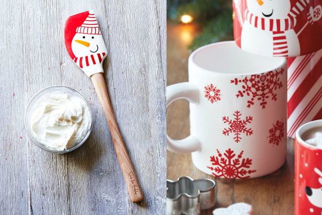 Sur La Table Holiday Snowman Spatula with frosting and Holiday Snowflake, Snowman, and Peppermint Stripe Mugs