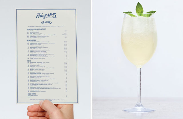 Tiny's No. 5 Menu and Cocktail in Champaign Flute