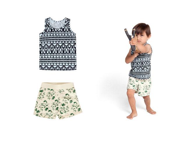 Izzy & Ferd Clothing on little boy with slingshot