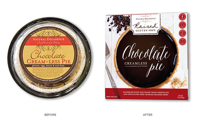Raised Gluten Free Before and After Pie Packaging