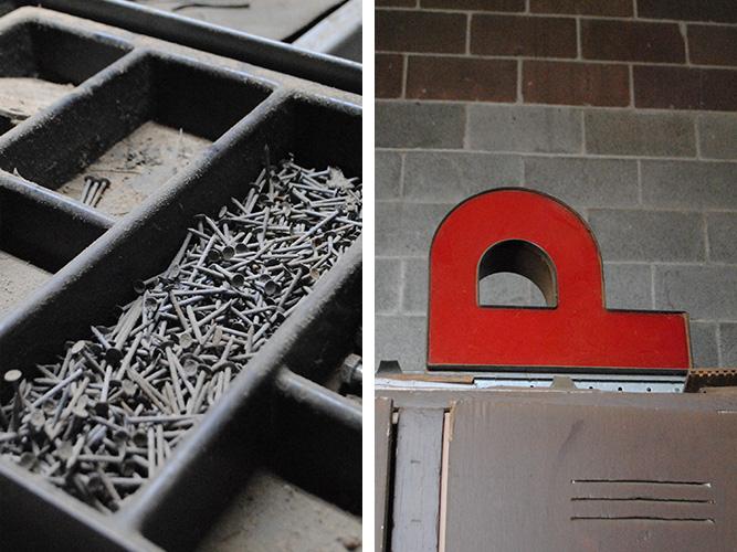 "Brackish Designs Studio Detail Shots of Nails and ""P"" letter"