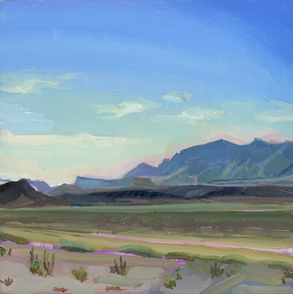 "BIG BEND SKIES, 2018, SOLD.   6""X6,"" oil on wood. Inspired by Big Bend National Park in Texas. Day 6 of ""30 in 30"" series. Prints available in my  Shop ."