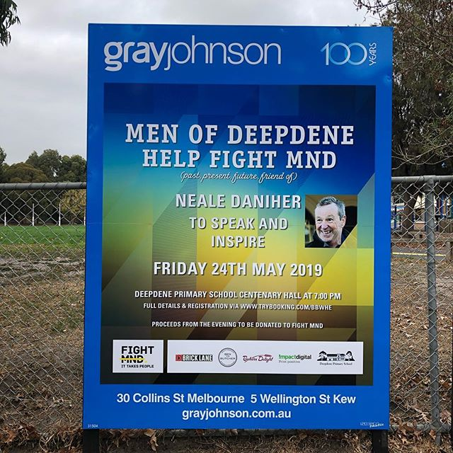 GrayJohnson are proud to sponsor Men of Deepdene Help Fight MND at Deepdene Primary School. Go to trybooking.com/BBWHE to purchase your tickets to a great cause. Neale Daniher will speak and inspire. Burgers and beers supplied as part of ticket purchase