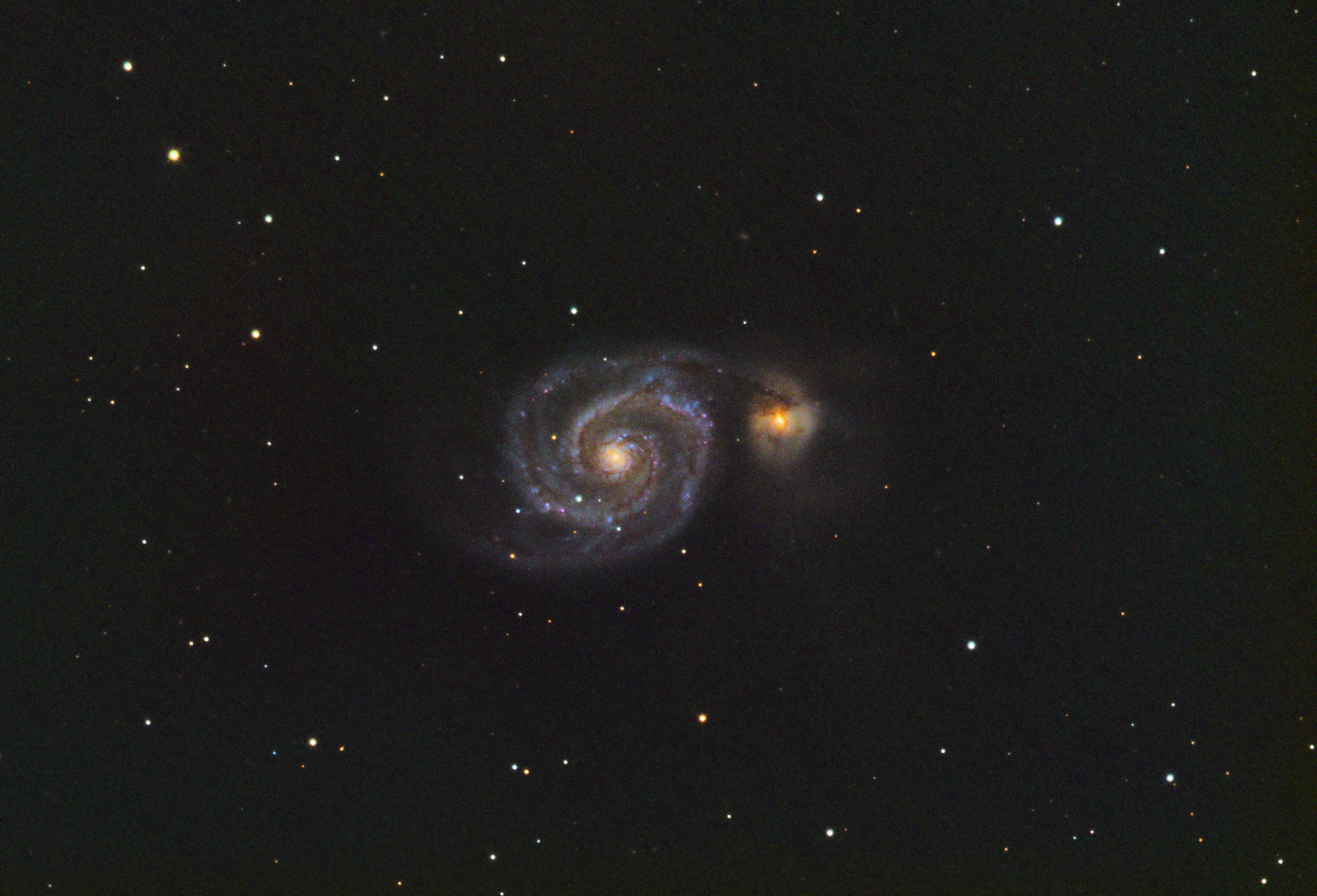 M51, Whirlpool galaxy taken on this setup later that evening.