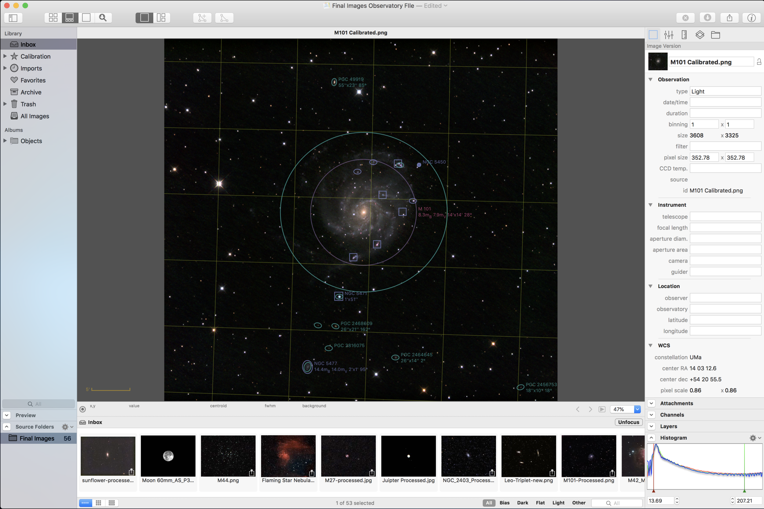 M101 and surrounding nebula are auto tagged once the image is plate solved.