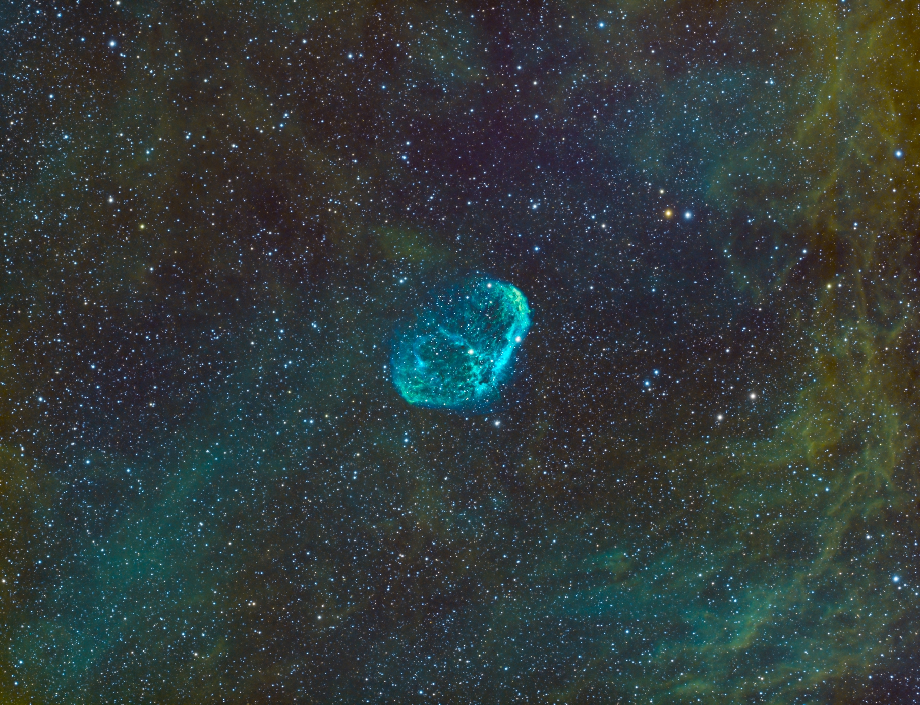 Deep sky object, the Crescent Nebula, was imaged over 30 hours on my  Explore Scientific FCD100 setup.  Using a more advanced program called  EKOS .