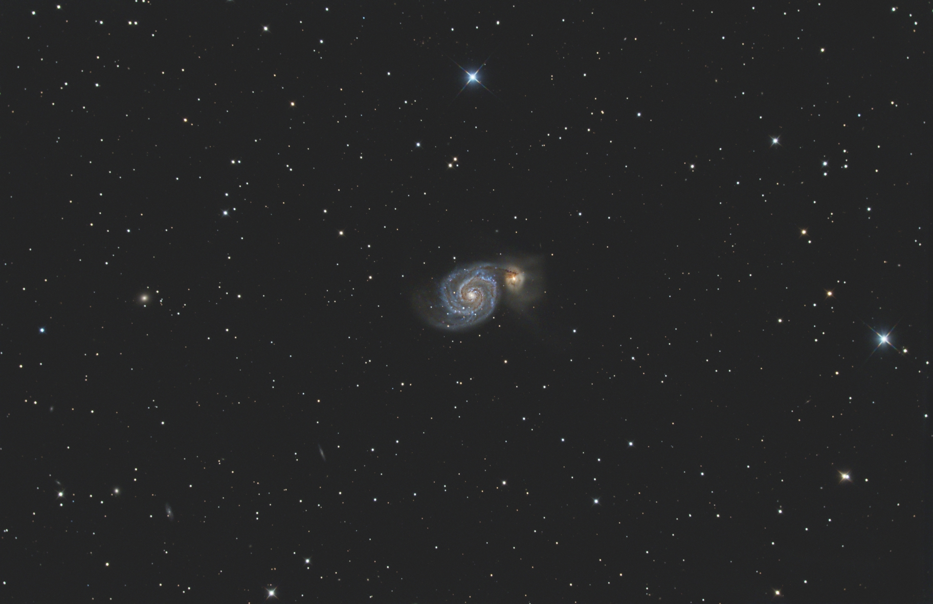 M51 taken with the ZWO ASI071MC-Pro camera and the AT6RC scope.