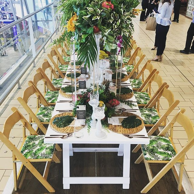 Fresh Styling perfect for a tropical Queensland brunch!🌿 . . . . . #customchairpads #tropicaltablescape #finerdetails #tropicaltheme #brunch #tablesetting #lush #tropicana #tablescape #longlunch #gormet #paddocktoplate #americanachairs #corporatestyling #restaurantdesign #eventstylist #tablecenterpiece #aminiconcepts #thestyledgroup #visiondesigncreate #foodblogger