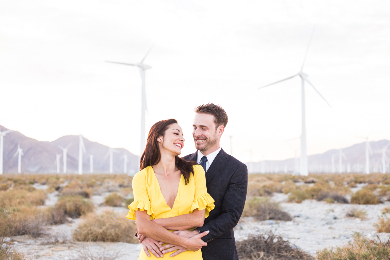 Engagement shoot with Palm Springs Windmills
