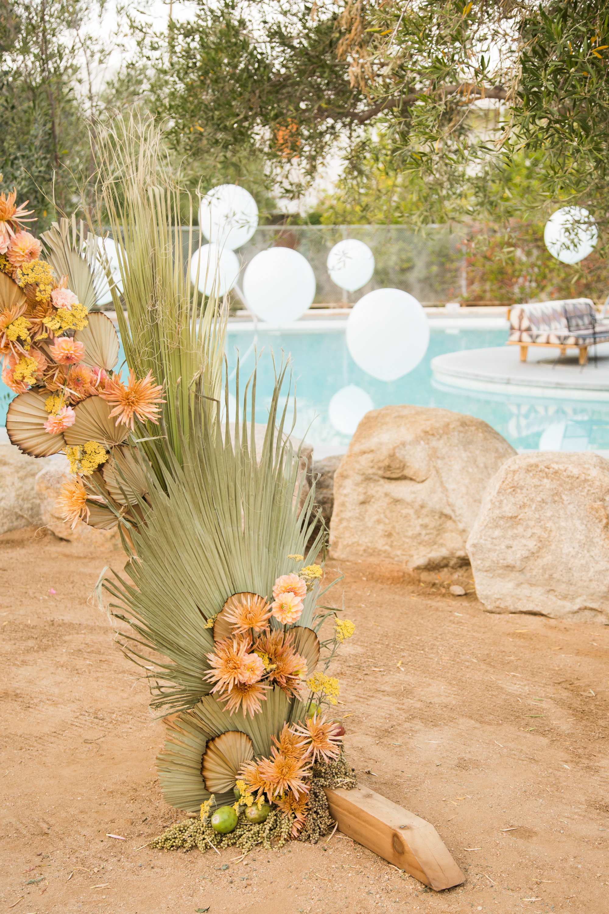 Colorful desert florals at Palm Springs Wedding