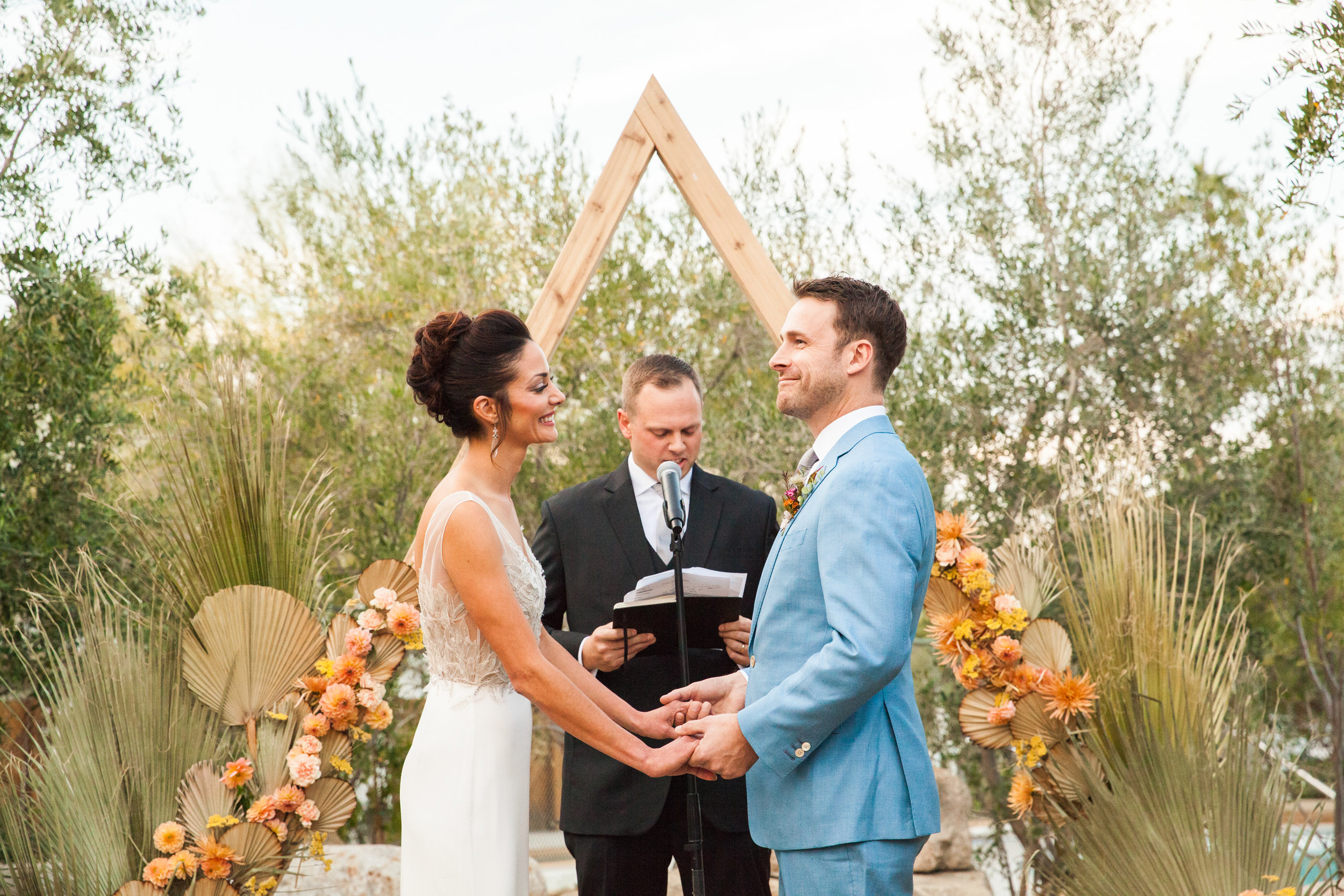 Unique colorful wedding arch at Ace Hotel and Swim