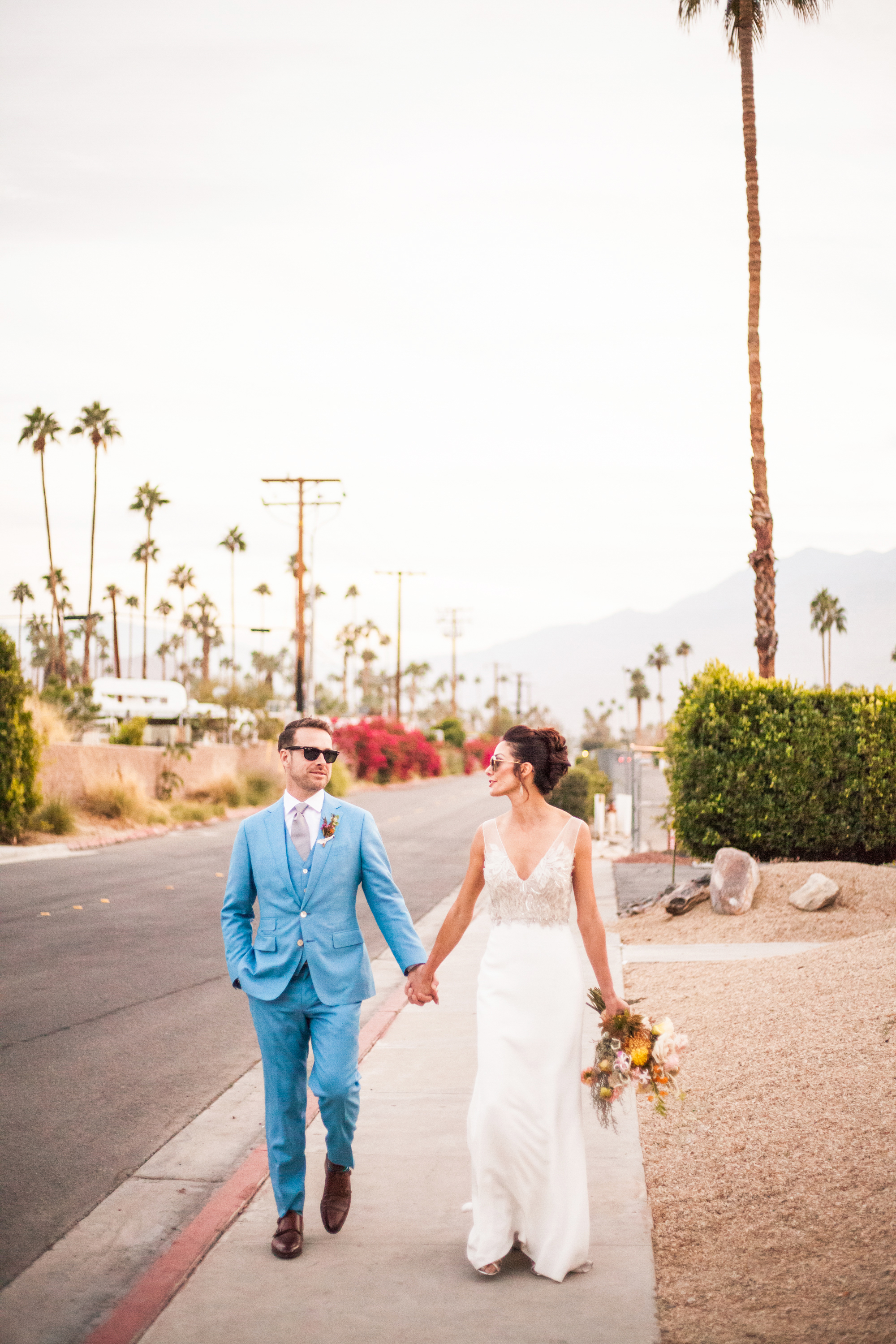 Bride and Grooms magic hour portraits in Palm Springs