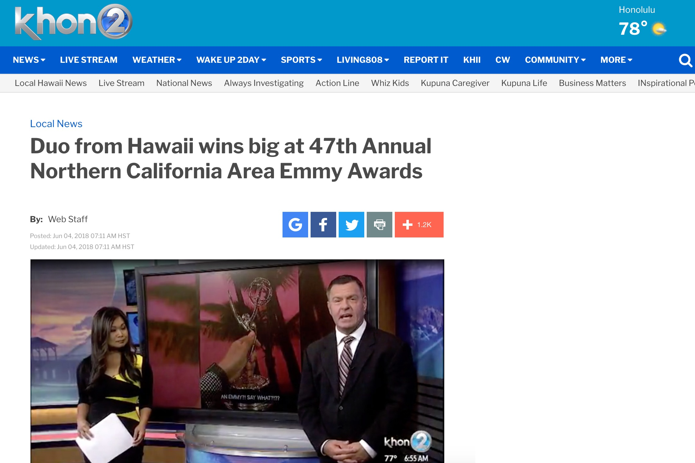 Duo from Hawaii wins big at 47th Annual Northern California Area Emmy Awards  by Khon2