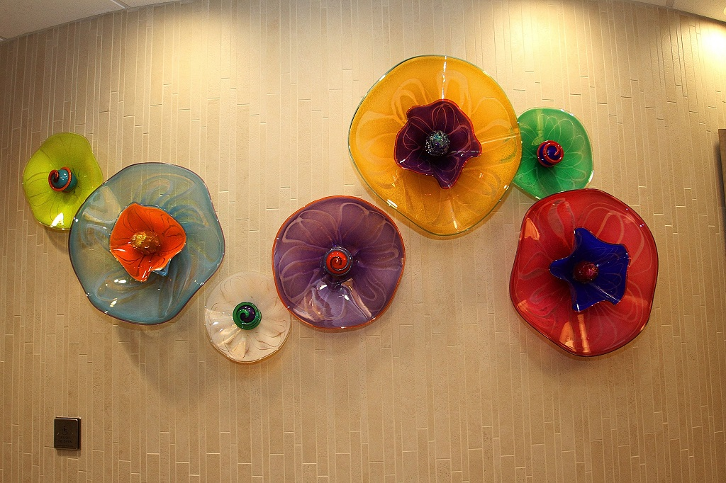healthcare art glass wall sculpture