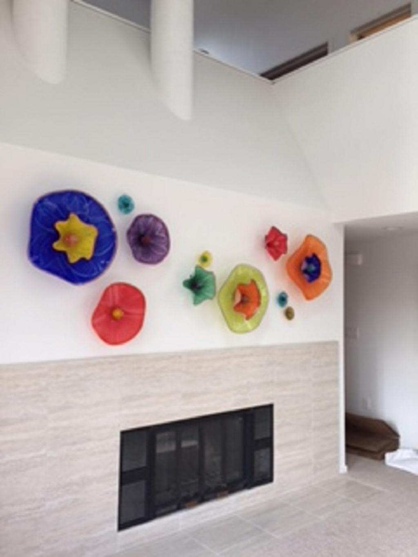 healing glass wall art sculpture