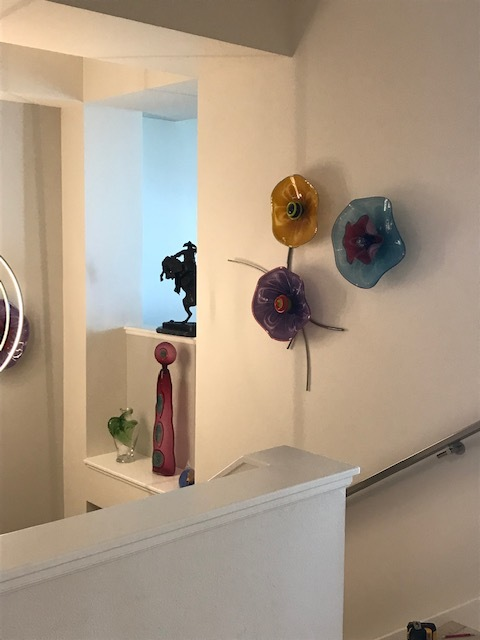 contemporary glass wall sculpture