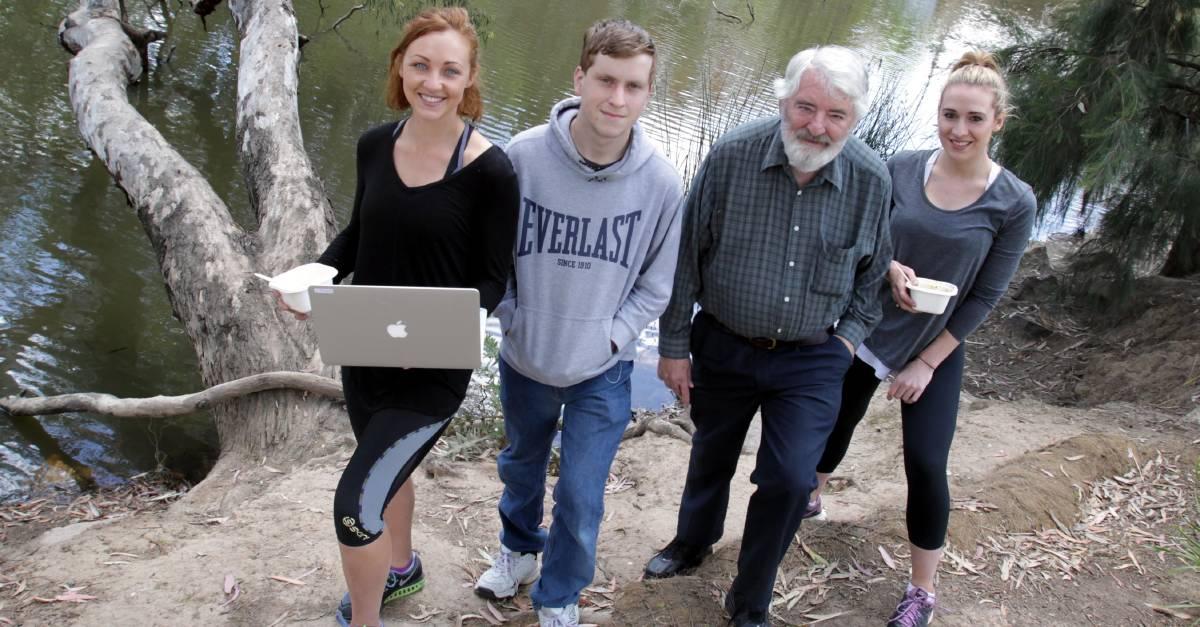Picnics in the park: Embrace Mental Health meet-up members Samantha Brunskill, Liam Campbell, Graeme Hanlon and Madeleine Powley.