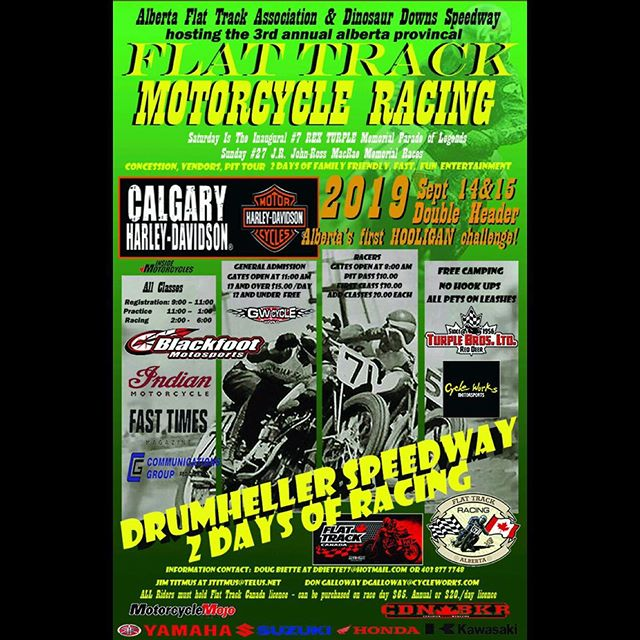 What's better than a day of racing? Two of 'em! There's a double-header going down out in Alberta this weekend. If you find yourself in the area or are lookin' for a racing road trip adventure, definitely go show these guys some support 🇨🇦🏁 . @flattrackcanada @hondacentre @fusionsolutionsinc @trevdeeleyhd @deeleyexhibition @hitcase @simpson_motorcycle_helmets @uncleabes @narrowlounge @mbeauto @alecsmachineshop @medtechems @gastowntattooparlour @meatchopsleathershop @motorcychomagazine @fasttimesmagazine @fritzworks @parallel49beer . #vftc #flattrackbc #nwflattrack #flattrackcanada