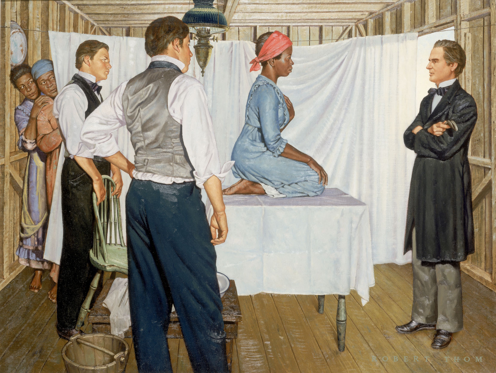 """""""J. Marion Sims: Gynecological Surgeon,"""" from """"The History of Medicine,"""" by Robert Thom, circa 1952. Archived at the University of Michigan. All 45 images available on  Imgur . Shown is the slave  Anarcha,"""