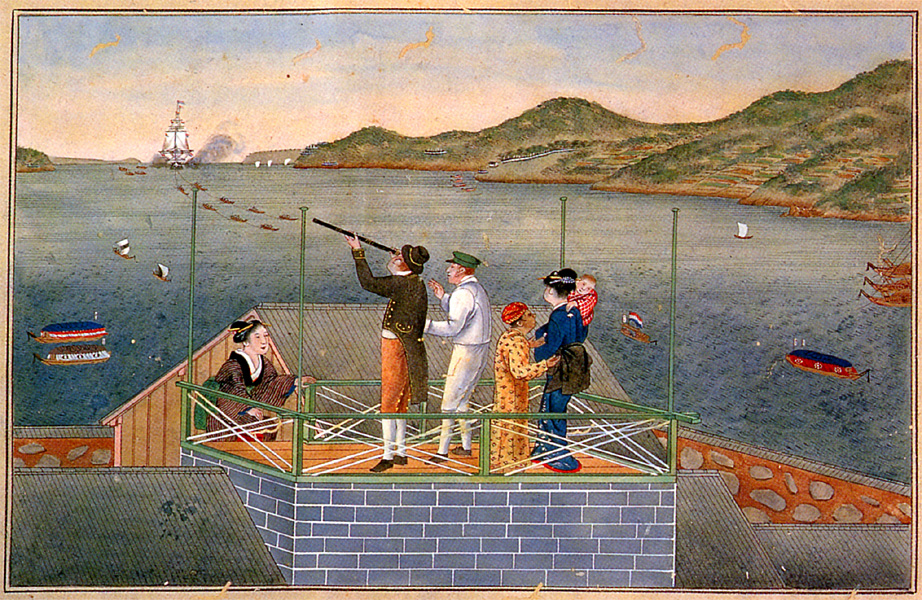 Painting by Kawahara Keiga: Arrival of a Dutch Ship. Siebold, wife and daugther.