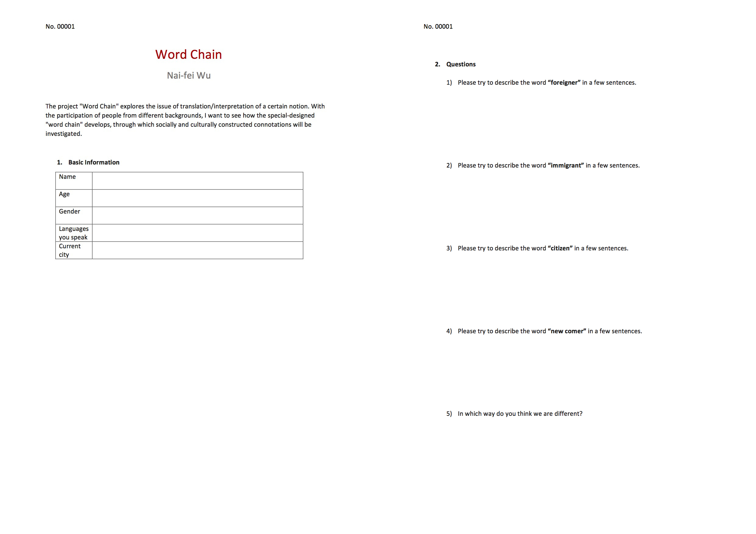 The questionnaire for the participants to fill in.
