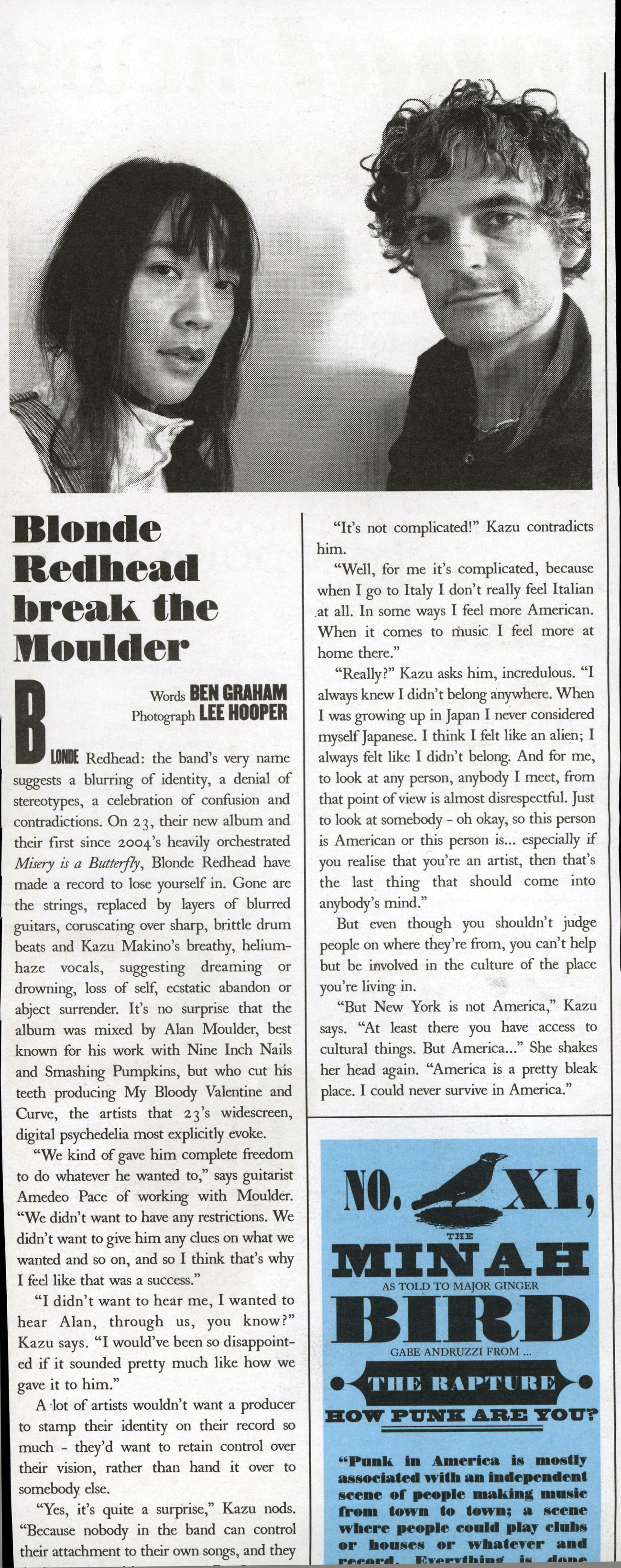 Blonde Redhead, The Stool Pigeon Newspaper, 2007