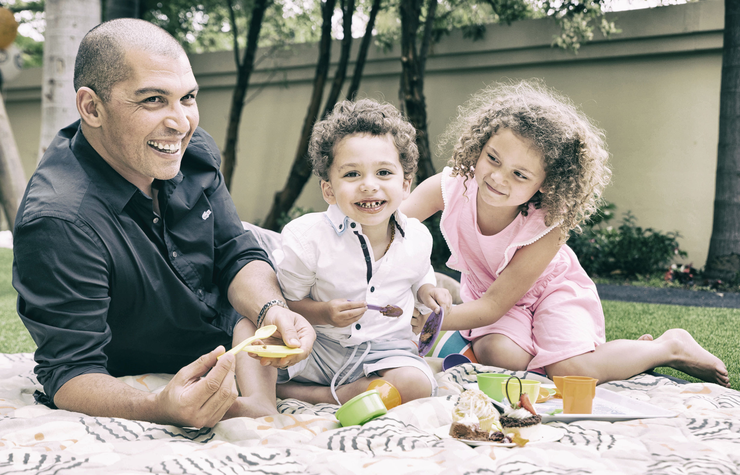 Reuben with his two children.