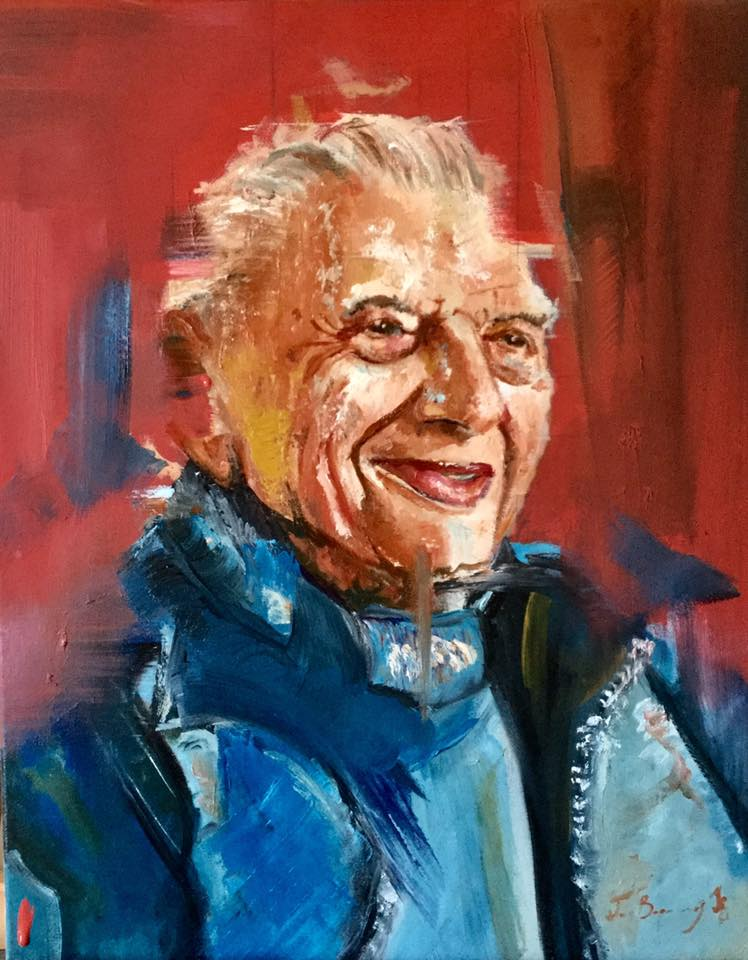 Marcel, Smiling and With Scarf // Oil on Canvas // 40x50cm // 2017