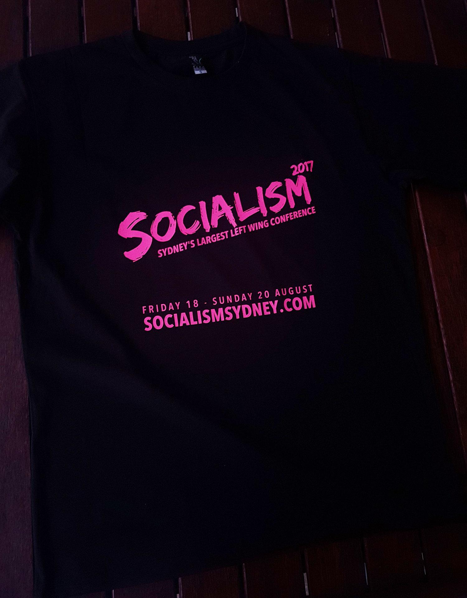 Socialism conference t shirts, pink on black