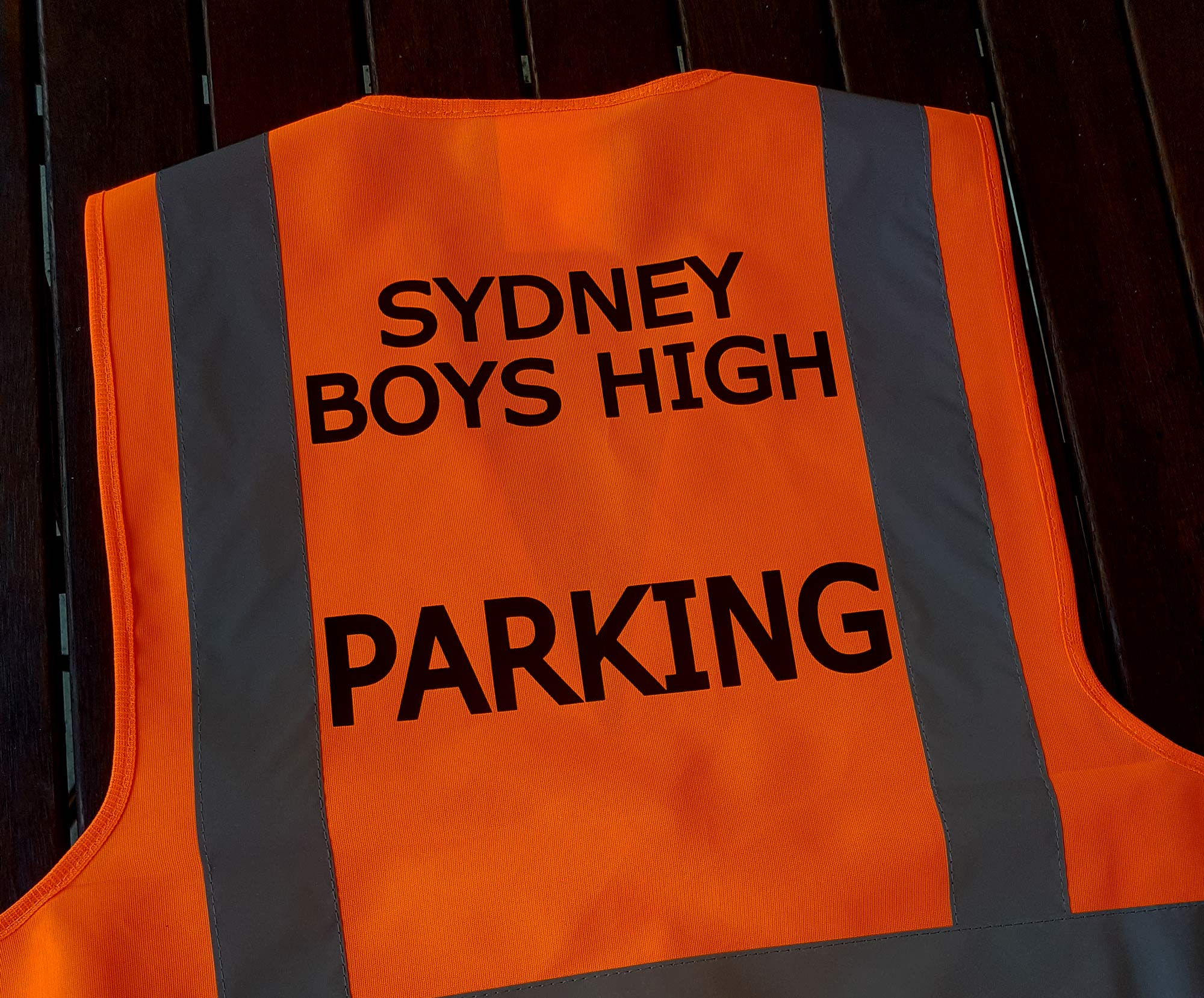 parking text on hi-vis