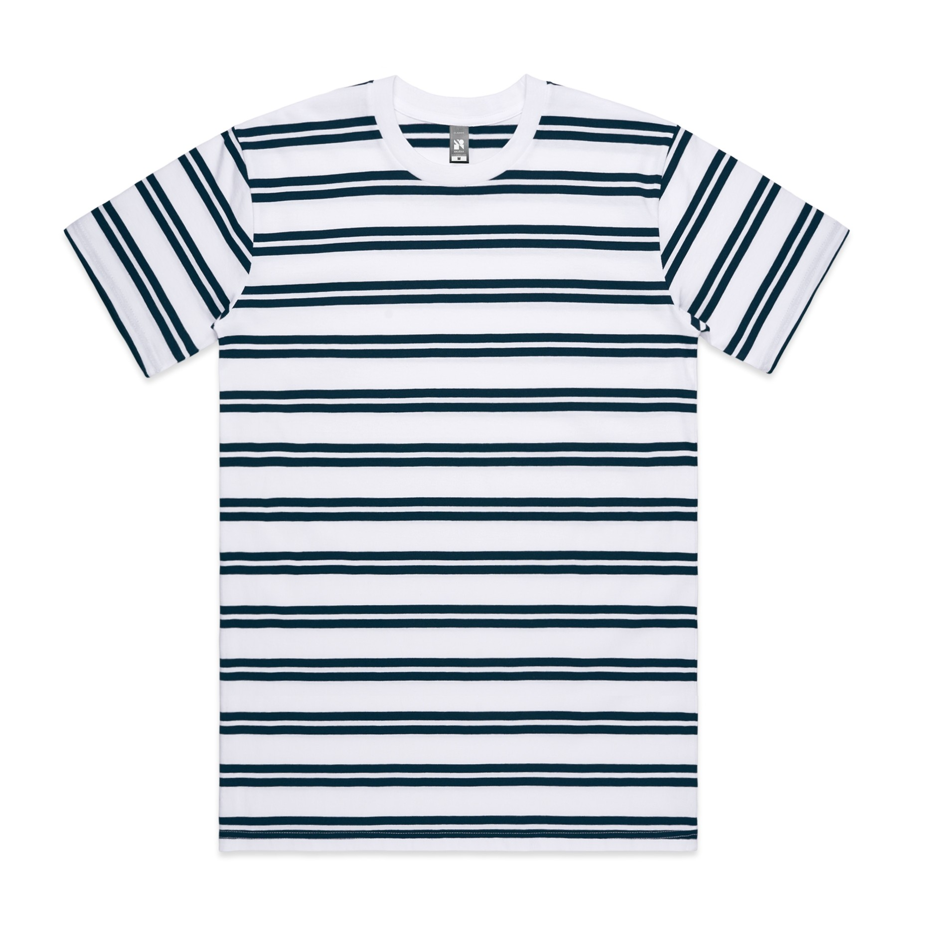 Mens Classic Stripe Tee 5044 - Relaxed Fit | Crew Neck | Heavy-Weight | 200 gsm | 100% Combed Cotton | Preshrunk | 4 Colours